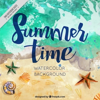 Watercolor summer background in the beach