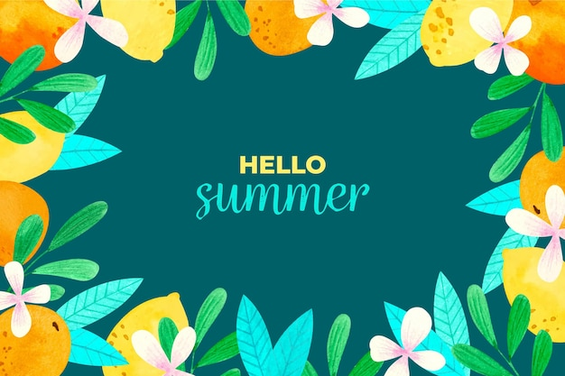 Watercolor summer background concept