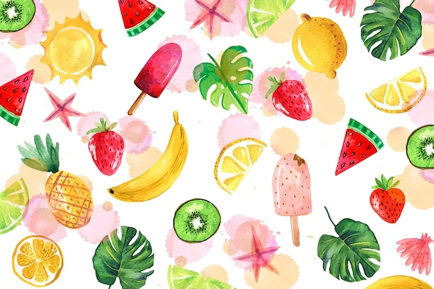 Watercolor summer background theme