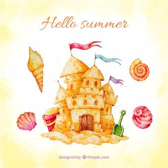 Watercolor summer background with castle of sand