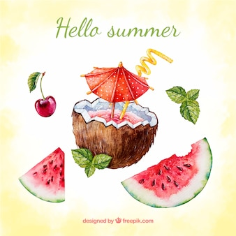 Watercolor summer background with coconut and watermelon