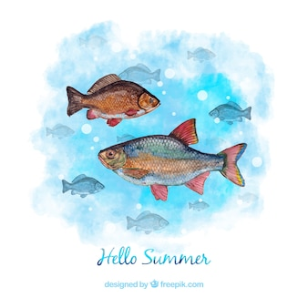 Watercolor summer background with fishes