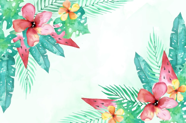 Watercolor summer background with flowers