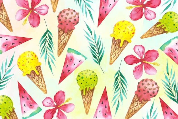 Watercolor summer background with ice cream cones