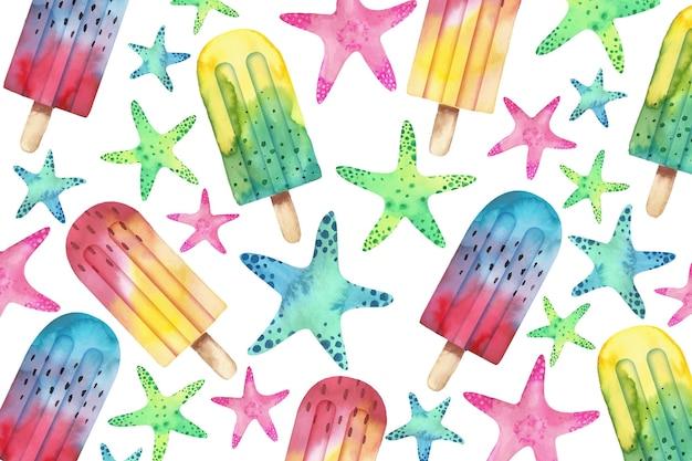 アイスクリームと水彩夏の背景