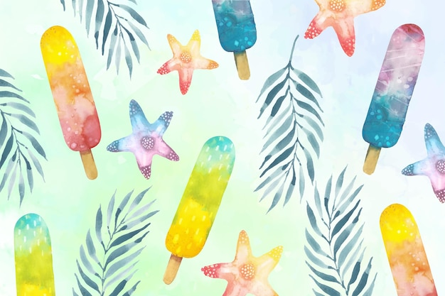 Watercolor summer background with popsicles