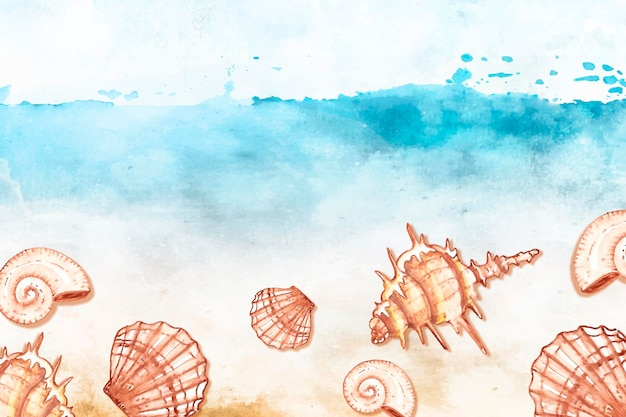 Watercolor summer background with shells
