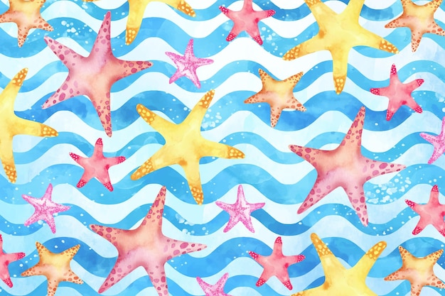 Watercolor summer background with starfish