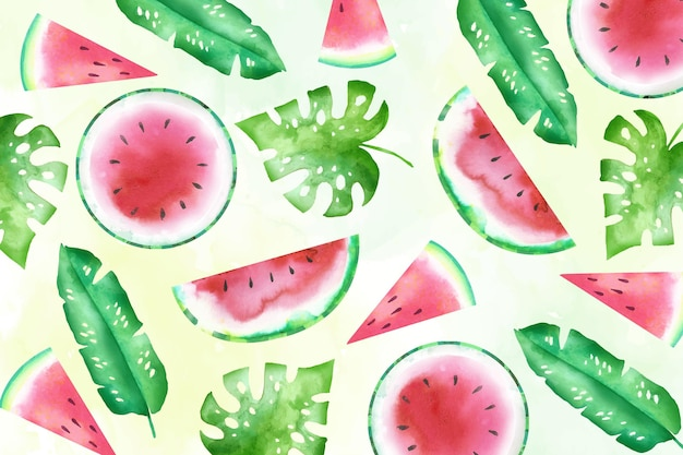 Watercolor summer background with watermelon