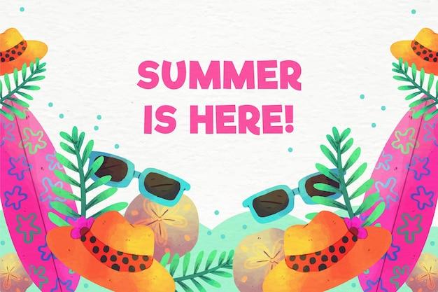 수채화 여름 배경