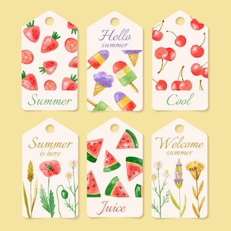 Watercolor summer badges collection