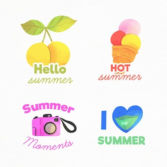 Watercolor summer badges