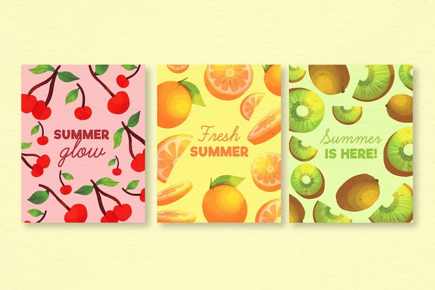 Watercolor summer card collection template