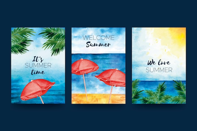 Watercolor summer card pack template