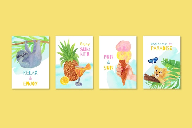 Watercolor summer cards collection