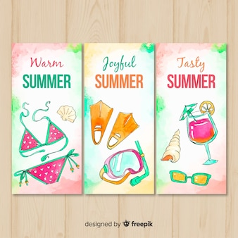 Watercolor summer cards