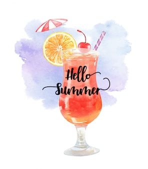 Watercolor summer drink orange cherry and umbrella