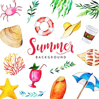 Watercolor summer elements multipurpose background