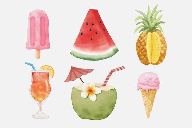 수채화 여름 요소 그림을 설정