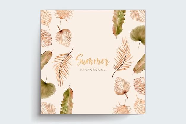Акварель летние цветочные и листья набор карт