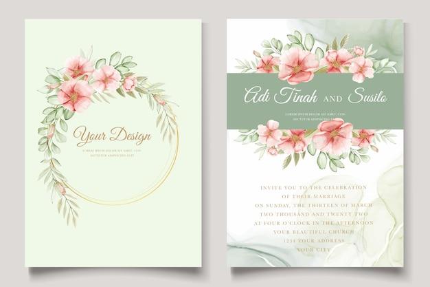 수채화 여름 꽃과 잎 카드 세트