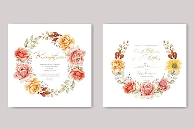 Акварель летние цветочные и листья свадебные приглашения набор карт
