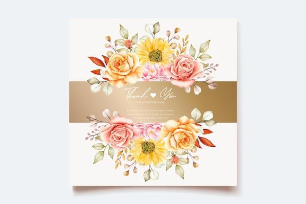 水彩画の夏の花と葉の結婚式の招待カード