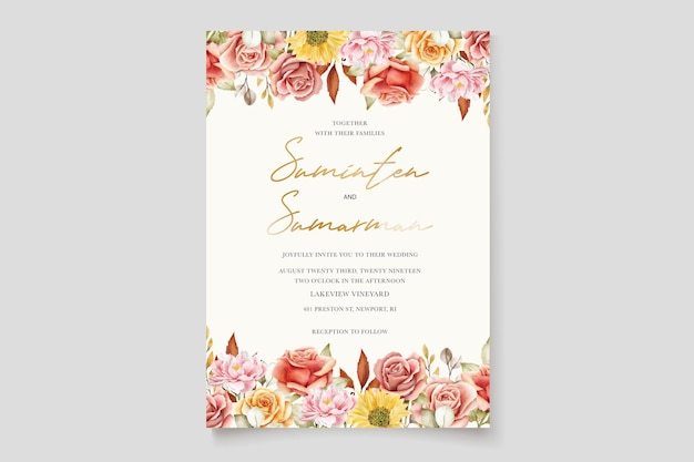 Акварель летние цветочные и листья свадебные приглашения