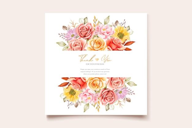 수채화 여름 꽃과 나뭇잎 결혼식 초대 카드