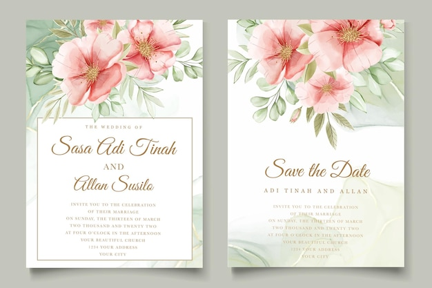 Watercolor summer floral and leaves card set