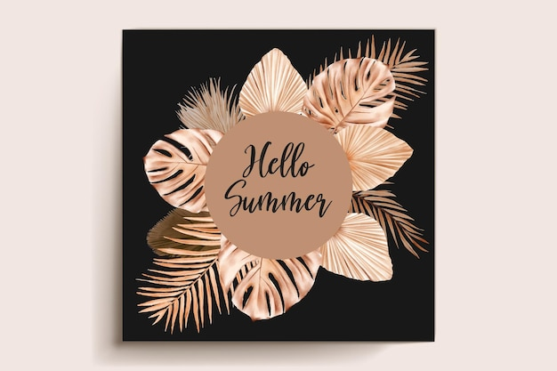 Watercolor summer floral and leaves card