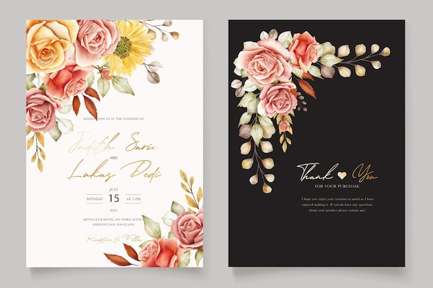 Watercolor summer floral and leaves wedding invitation card set