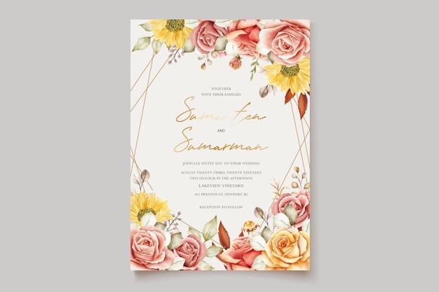 Acquerello estate floreale e foglie di invito a nozze