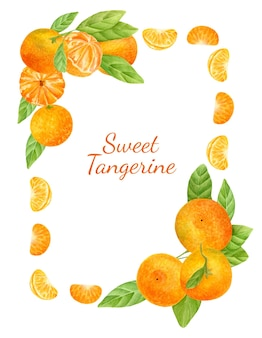 Watercolor summer frame with citrus fruits juicy tangerines with leaves