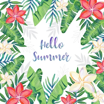 Watercolor summer frame with floral decoration