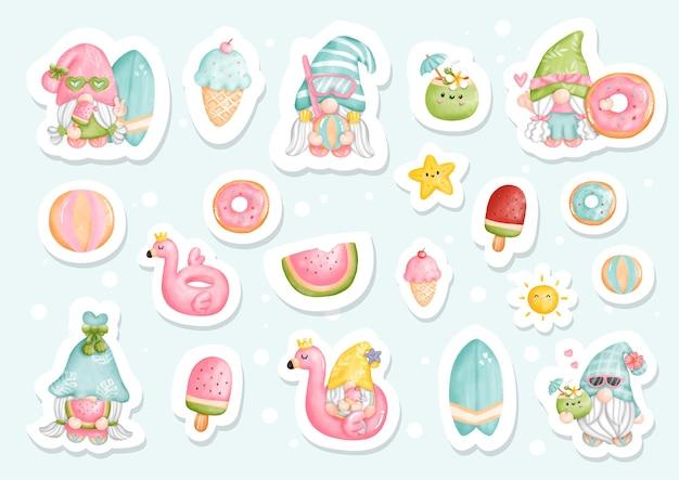 Watercolor summer gnomes, beach gnomes sticker. Premium Vector