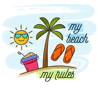 Watercolor summer holiday banner. my beach, my rules
