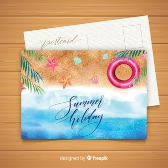 Watercolor summer holiday postcard