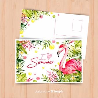 수채화 여름 휴가 엽서
