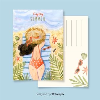 Watercolor summer holiday postcard