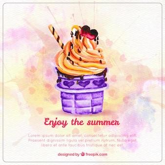 水彩夏のアイスクリーム