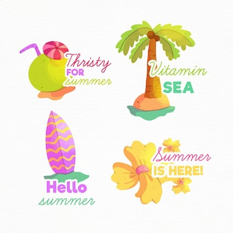 Watercolor summer labels collection