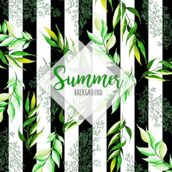 Watercolor Summer Leaves With Stripes Background