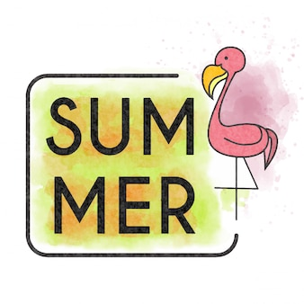 Watercolor summer lettering with flamingo