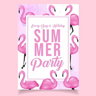 Watercolor summer party poster flamingo pink