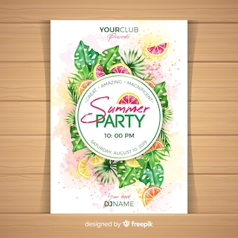 Watercolor summer party poster template