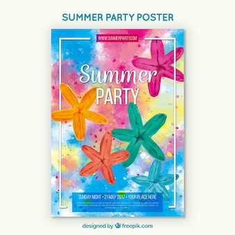 Watercolor summer party poster with starfish
