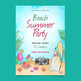 Watercolor summer party poster