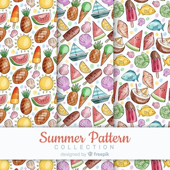 Watercolor summer pattern collectio