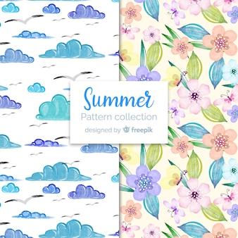 Watercolor summer pattern collection